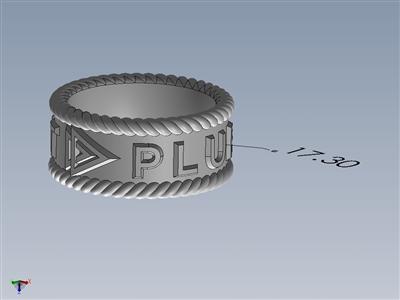 带有Pluralsight公司标志和螺旋边的戒指