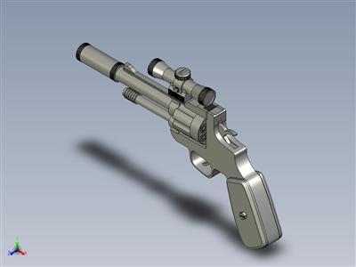 带抑制器和瞄准镜的左轮手枪