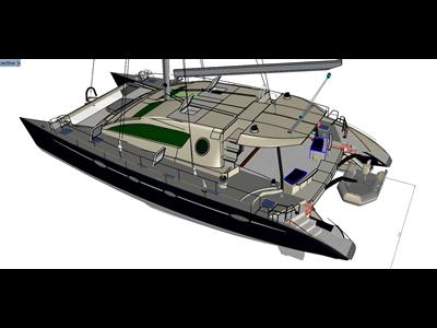 能承受搁浅和搁浅的70英尺双体船。概念三维模型