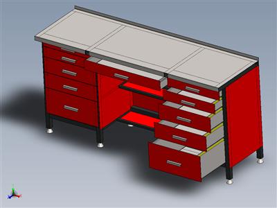 带附加焊接台的车间工作台。